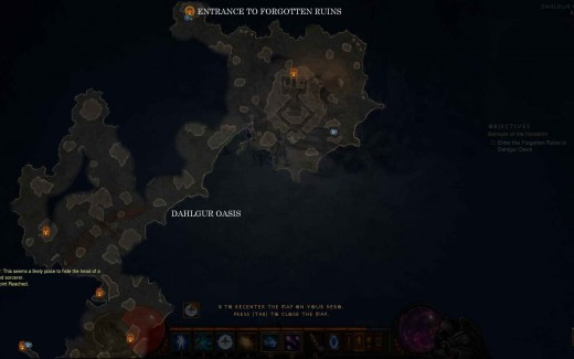 Diablo 3 Find the Forgotten Ruins in Dahlgur Oasis - note: map may differ from game to game