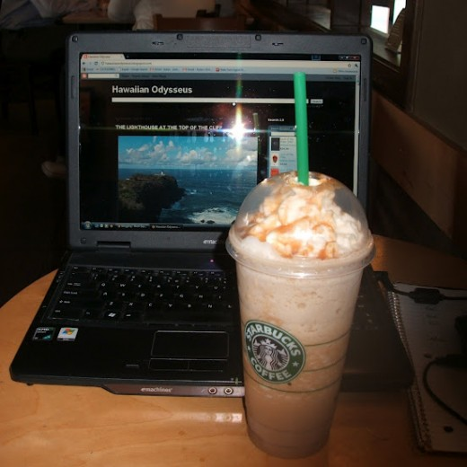 The Tools of a Writer's Trade--Great Coffee Shop Environment; Venti Caramel Frappucino; and Laptop