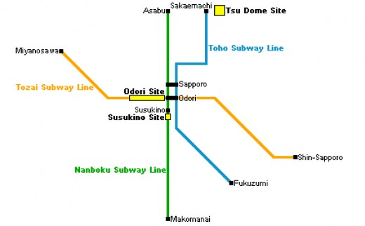 A Tube Map showing the three main sites you will want to visit (Odori Site, Tsu Dome Site, Susukino Site)