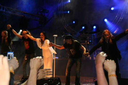 A picture of the band taken in 2005. (Left to right: Marco, Tuomas, Tarja, Jukka, and Emppu)