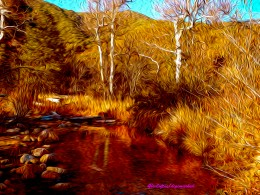 """I changed the color values, adding magenta, red and gold to the original photo before """"digitally painting it.."""""""