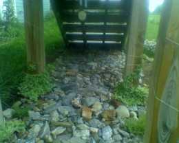 My rock garden bordered with mulch
