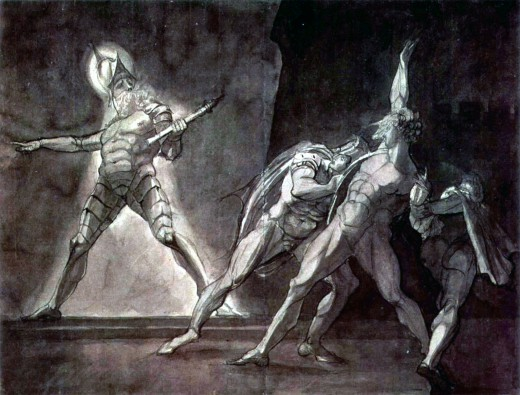 Henry Fuseli - Hamlet and his father's Ghost (1780-1785, ink and pencil on cardboard, 38 × 49,5 cm)  Creative Commons: Public Domain