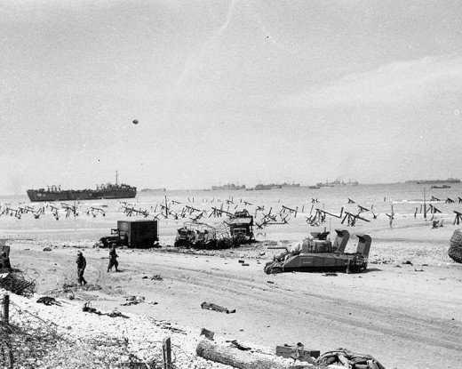 Scene on Omaha Beach during the afternoon of 6 June 1944
