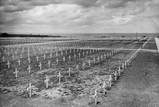 NORMANDY, ONE YEAR AFTER D DAY, JUNE 1945 American cemetery on the cliffside above Omaha beach, where 5000 American soldiers are buried.