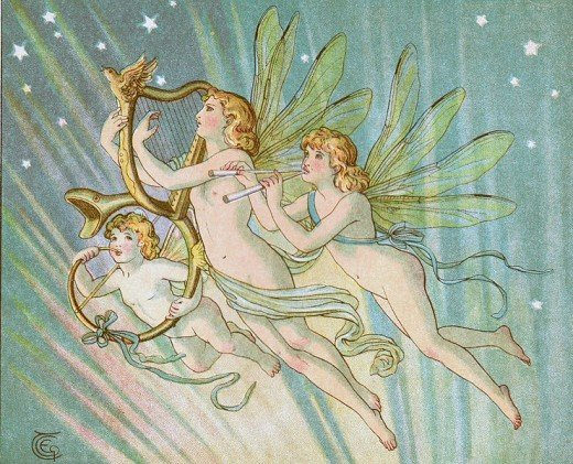 Fairies Playing Harps