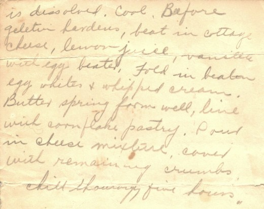 Hand-written recipe for Refrigerator Cheese Torte on old yellowed with age paper.