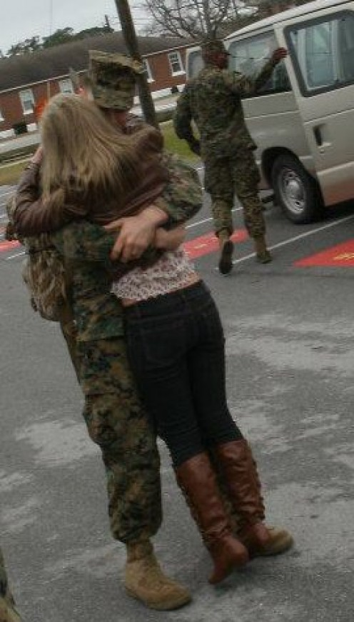 Eleven months between hugs tears at the hearts of those who serve and those who love them back at home.