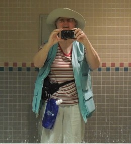 Not exactly high fashion, but it held all four cameras, my ID, my water, and all the brochures and business cards I collected. Sometimes function beats fashion.