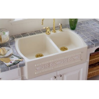 Apron sink with decorated front. Classic French country style.