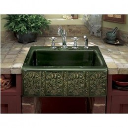 Copper verdegris apron sink