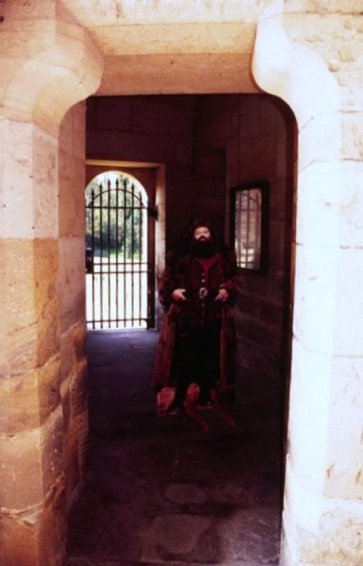 A Hagrad cutout greets visitors near the main entrance.