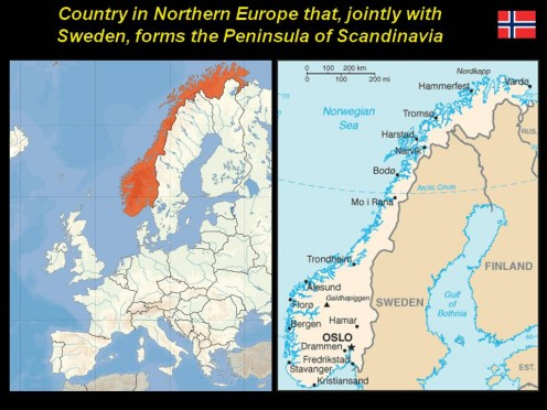 Northern Europe - with Sweden forms the Peninsula of Scandinavia