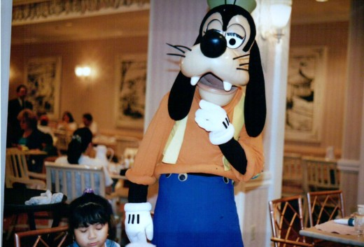 With Goofy at a Character Breakfast at the Grand Floridian Resort and Spa, November 1994