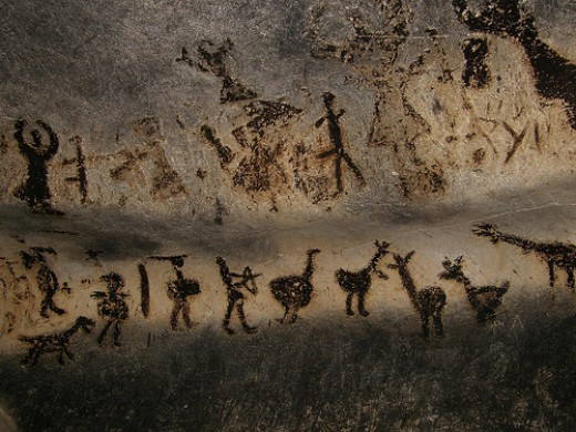 """The Hunt Scene"": Prehistoric Painting found in the Magura Cave, near the city of Belogradchik, Bulgaria."