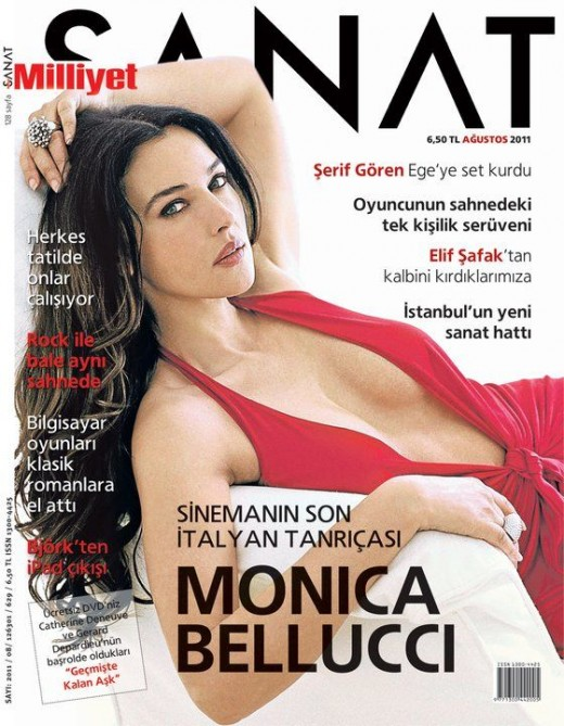 Monica Bellucci on the cover of Milliyet Sanat magazine