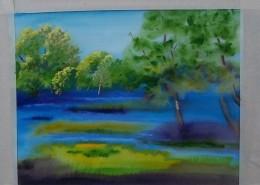 beginning the background pastel work