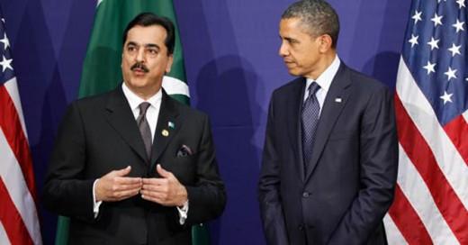Pakistan Prime Minister Syed Yusuf Raza Gilani, and US President Barack Obama listens
