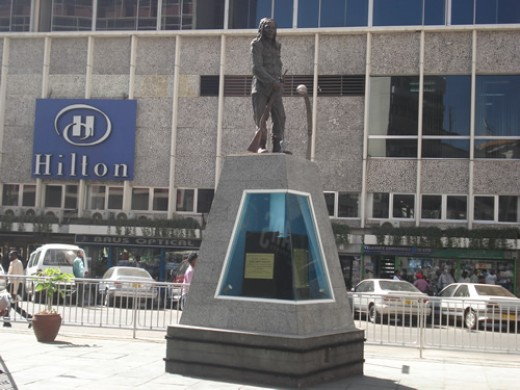 Statue of Mau Mau hero, Dedan Kimathi on Kimathi Street
