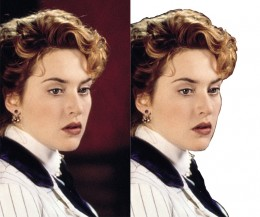 A comparison of an image of the Hollywood actress Kate Winslet that I edited using a quick selection of the Polygon Lasso tool, with the original image. (Original image on the left hand side.)