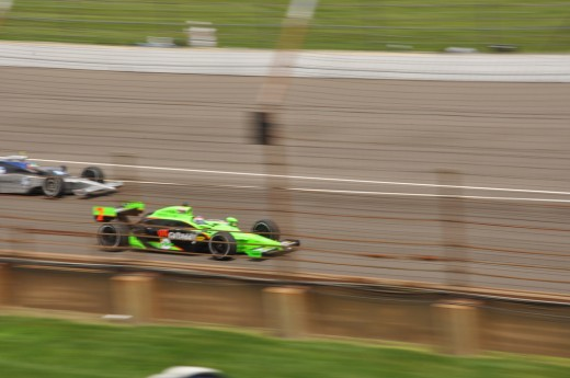 The cars are a blur driving by during the Indy 500!