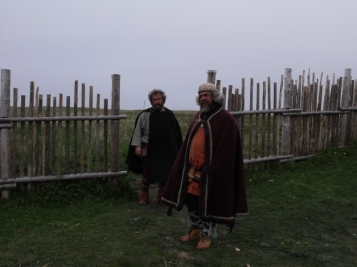 Two Viking tribesmen at L'Anse aux Meadows.