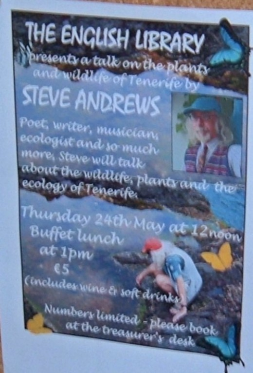 Poster for a talk by Steve Andrews at the English Library