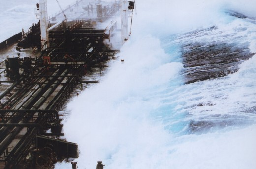 Rogue wave sequence showing 60-foot plus wave hitting tanker headed south from Valdez, Alaska.