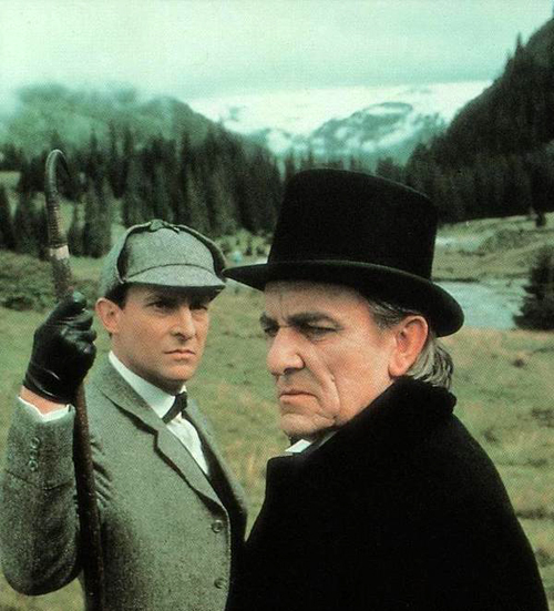 Holmes (Jeremy Brett) and Professor Moriarty (Eric Porter)