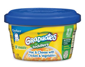 Gerber Graduates come in toddler meals, meat sticks, fruit puffies, and crunchie sticks