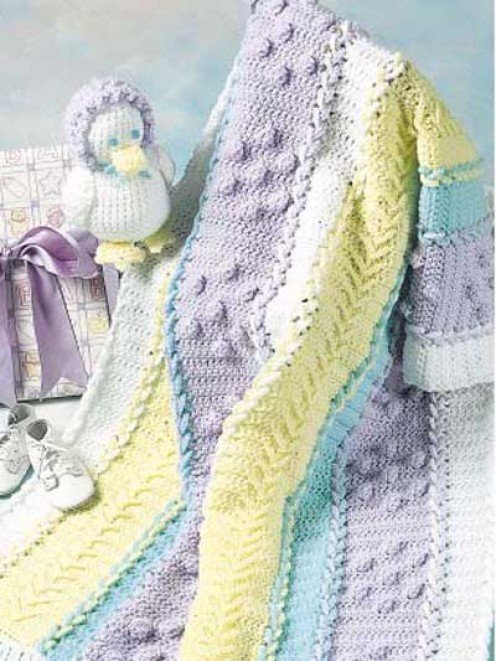 Lace-up baby afghan and toy from FreePatterns.com