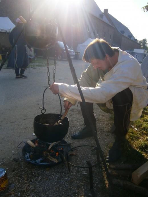 Marcel behind his pots