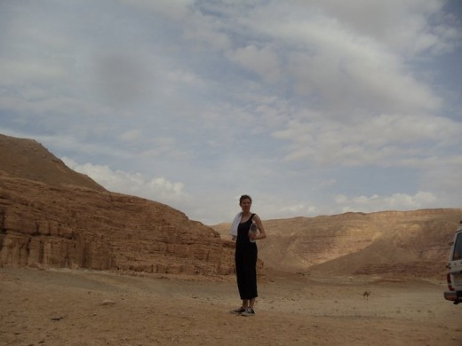 My friend enjoys the solitude of Dahab's deserts.