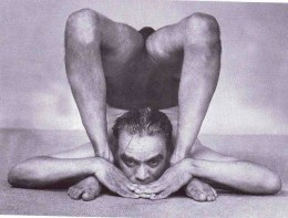 B.K.S. Iyengar performing the final stage of Ganda Bherandasana. This picture is from the article Can Yoga Prevent Dementia? See below.