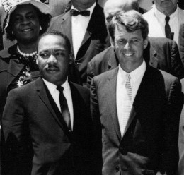 Robert Francis Kennedy With Martin Luther King Junior. Probably two of the greatest men to ever serve America. It's sad they didn't live. If they had America might not be in the condition it is today.