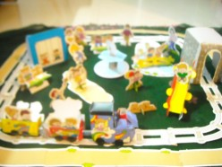 Activities for kids; Construction of a park using pre-punched pieces