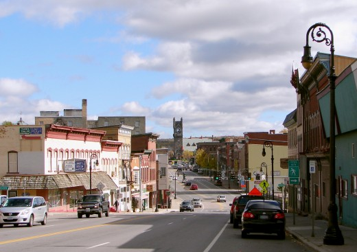 Main street in Malone, Franklin County, New York