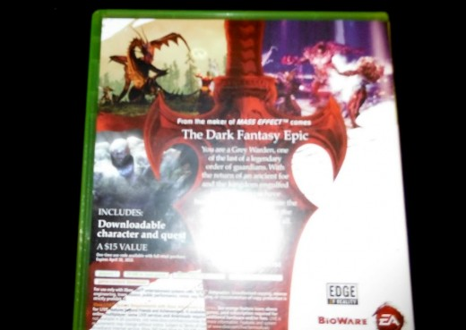 The back cover of my copy of Dragon Age: Origins