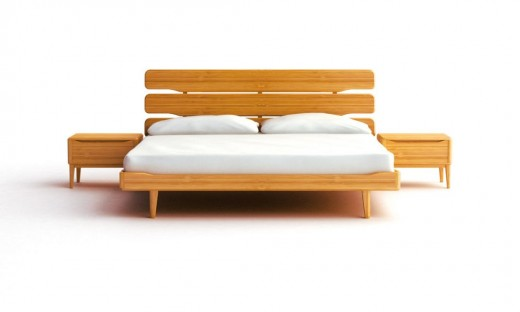 An example of a modern platform bed made with bamboo