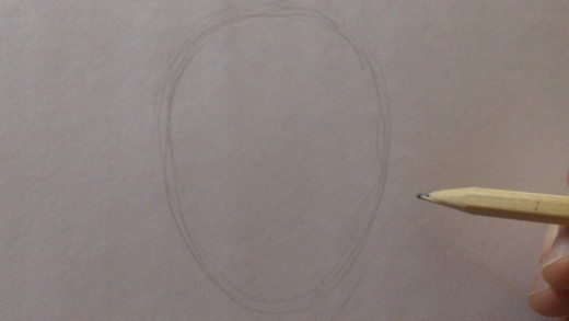 Draw an oval for the face shape.