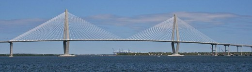 The new Arthur Ravenel, Jr. Bridge, constructed in 2005, was the second longest cable-stayed bridge in the Western Hemisphere at the time of its construction. It replaced the old bridge in Charleston South Carolina.