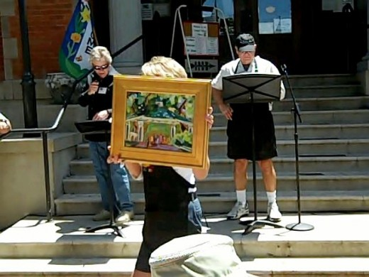A painting from the Plein Air Quick Draw is being auctioned. This is not the same one that appears in the video.