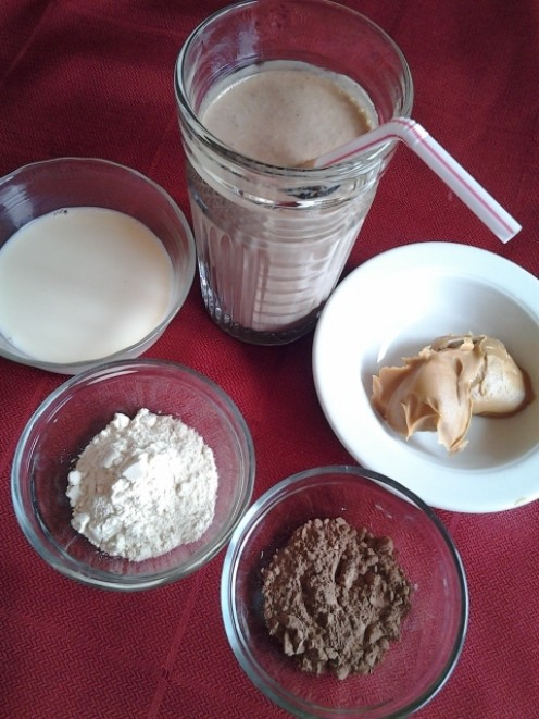 Chocolate Protein Smoothie with Ingredients