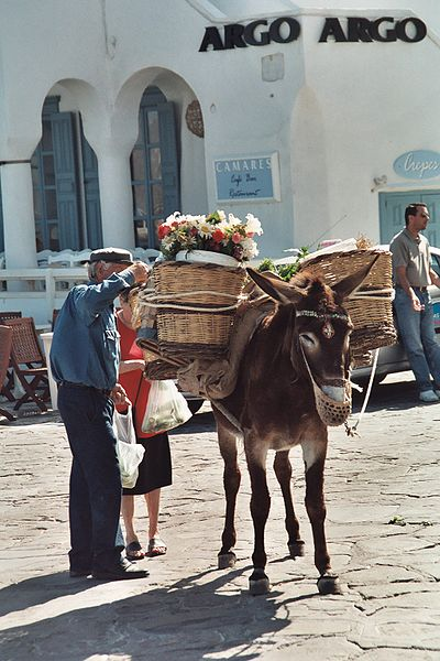 Market at the Port, Mykonos (This photograph by Heiko Gorski was taken in May 2003.)