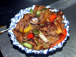 Beef with Baby Corn and Mushrooms in Black Bean Sauce