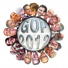 GOP 2012 in Caricature GOP Field - Left around circle starting with Sarah Palin at top center: Sarah Palin, Tim Pawlenty, Ron Paul, Donald Trump, Buddy Roemer, Jimmy McMillan, Gary E. Johnson, Haley Barbour, Mitch Daniels, Rick Santorum, Fred Karger,