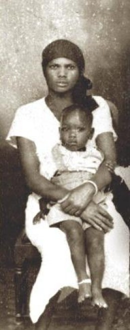 Habiba Akumu Obama, Barack Obama's paternal grandmother. Photograph is included on the dust jacket of Obama's memoirs Dreams from My Father. Obama's father, Barack Obama, Sr., is on Habiba's lap; this image is believed to be 70 years old due to the f