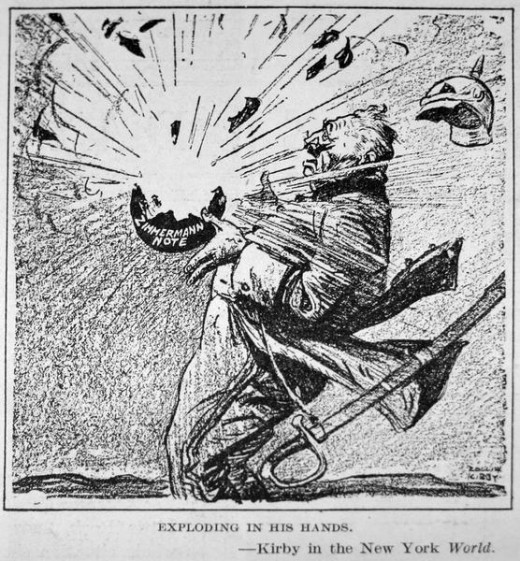 """Exploding in his hands"" - a political cartoon about the Zimmerman Telegram"
