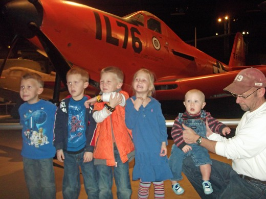 The children enjoying the National Air Force Museum in Dayton, Ohio