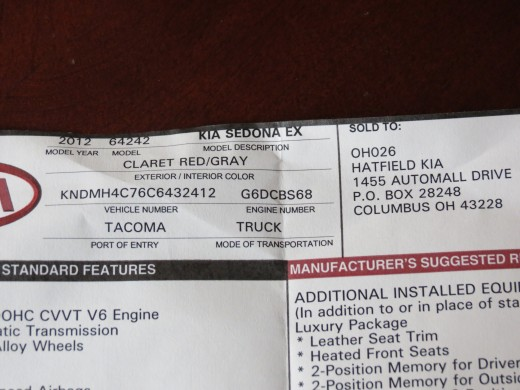 This is the dealers window invoice, it indicates that this vehicle is a 2012 model.